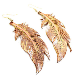 Wyo-Horse Leather Embossed Feather Earrings