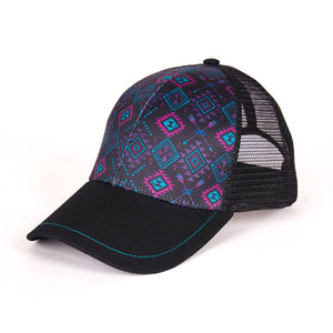 Cowgirl Tuff Black Aztec Womens Trucker Cap