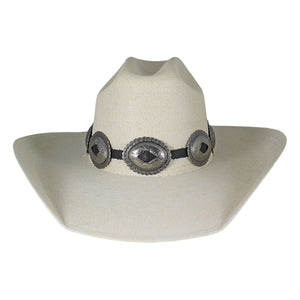 Austin Accent Black & Silver Large Concho Hat Band