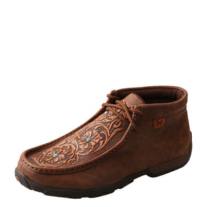 Twisted X Brown Tooled Flowers Womens Driving Moc
