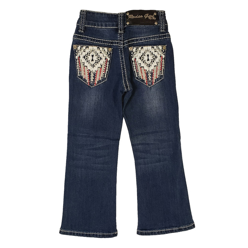 Rodeo Girl Aztec Leather Pattern Girl's Jean