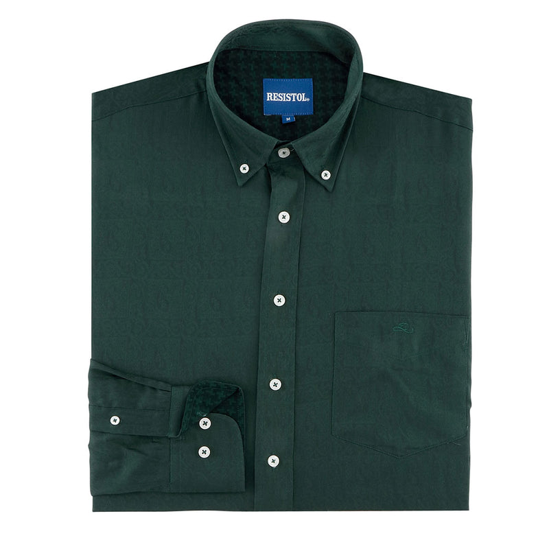 Resistol Adair Vintage Pattern Print Green Mens Shirt