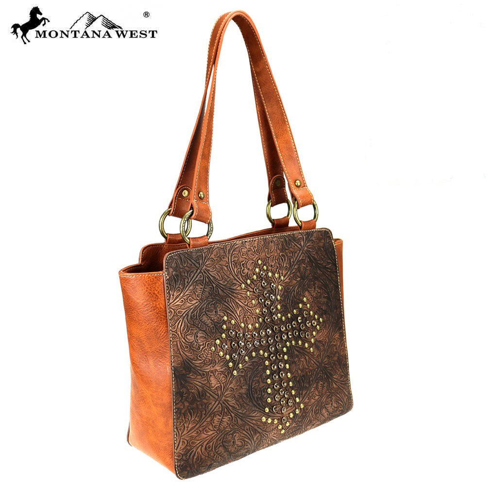 Montana West Gold & Crystal Studded Cross Tote