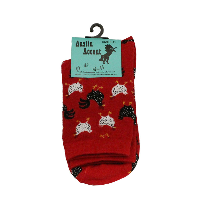 Austin Accent Women's Mid Calf Chicken Print Socks