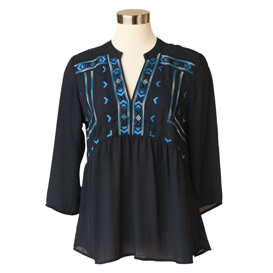 Keren Hart Navy Embroidered Peasant Top