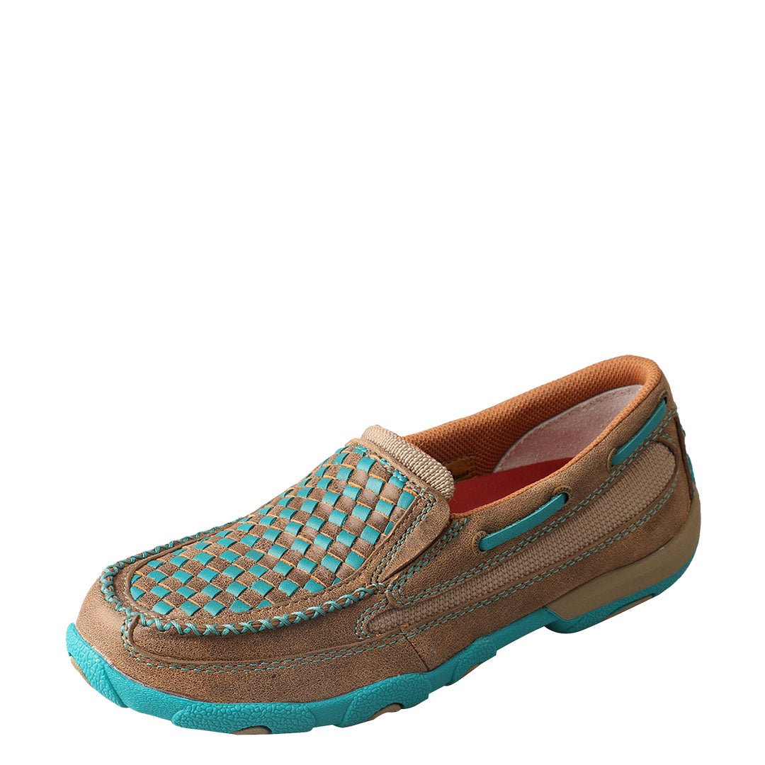 Twisted X Brown/Turquoise Checkered Womens Driving Moc