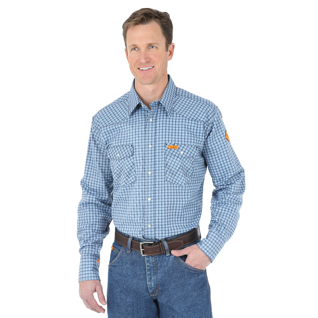 Wrangler Flame Resistant Blue Plaid Shirt