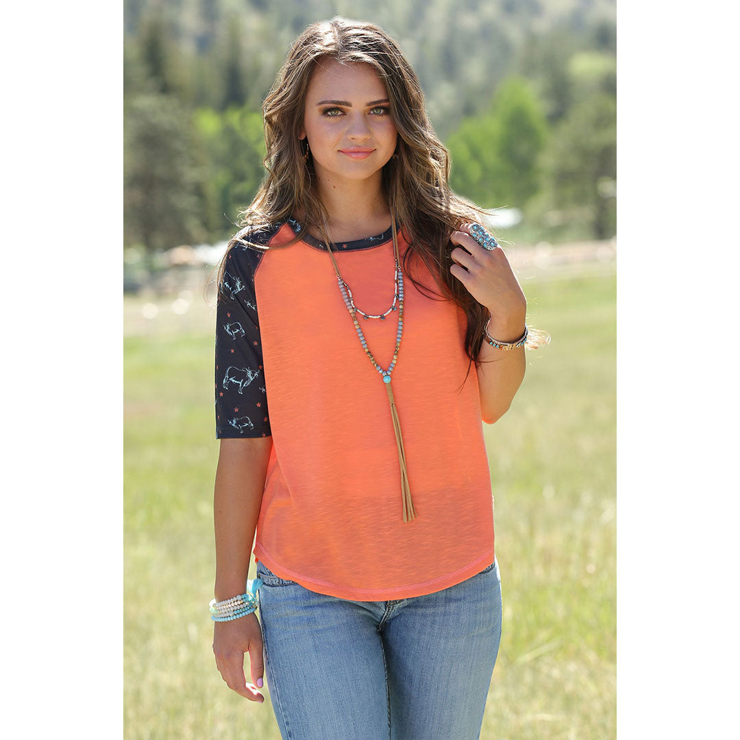 Cruel Denim Coral & Blue Women's Raglan Tee