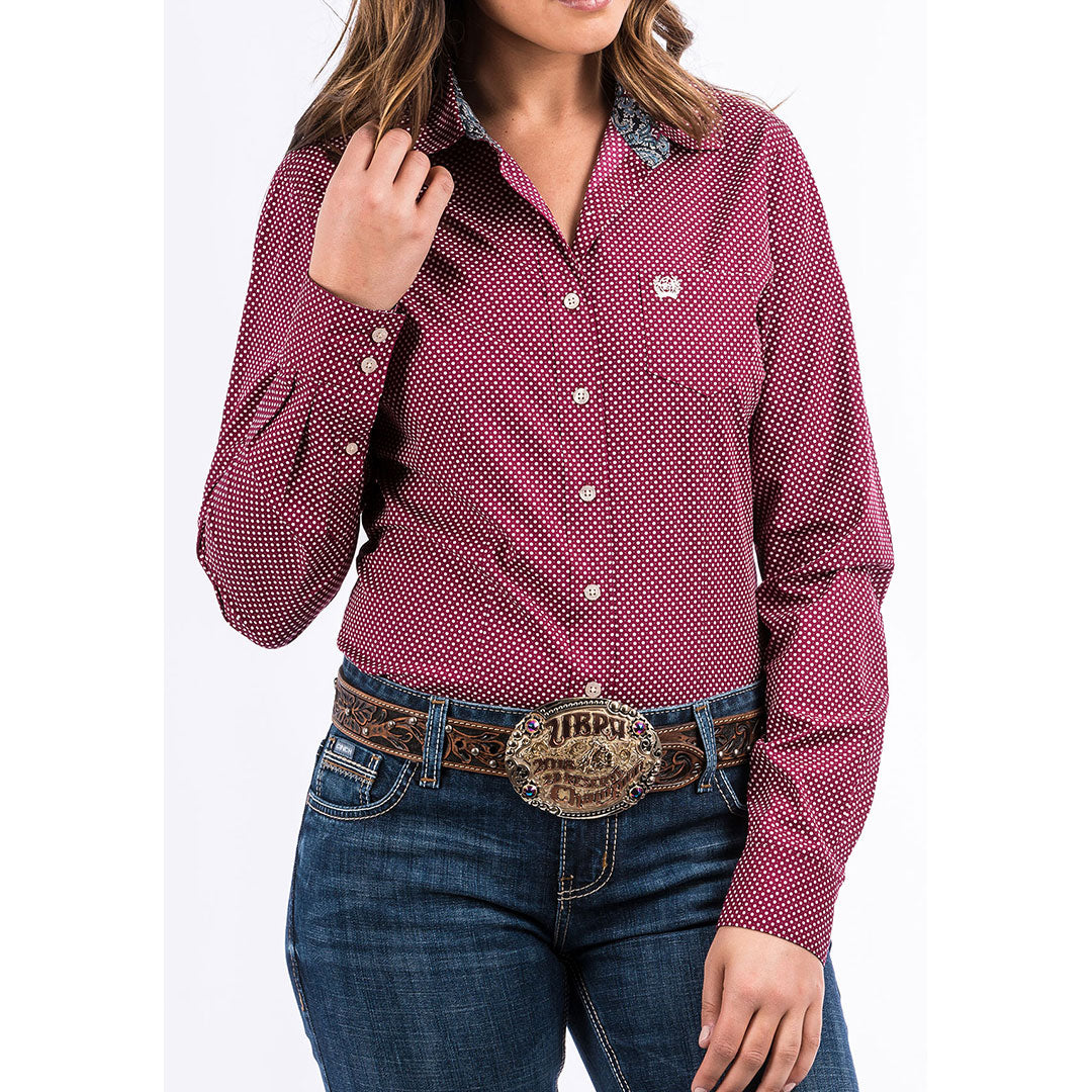Cinch Burgundy Dot Print Shirt