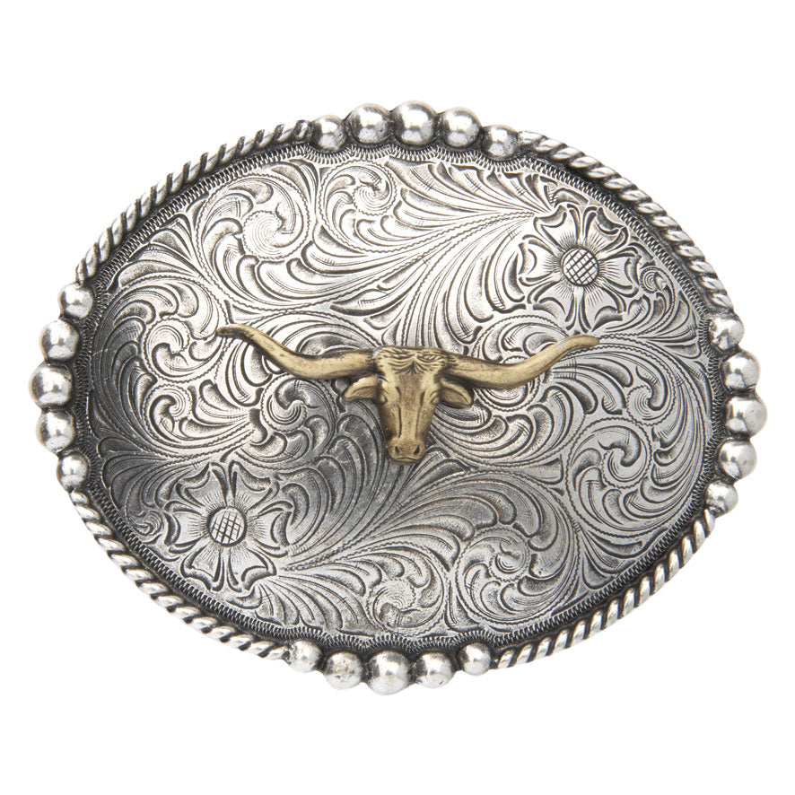 AndWest Antique Longhorn Belt Buckle