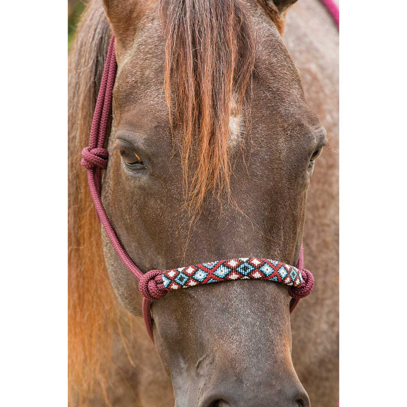 Professional's Choice Burgundy Beaded Rope Halter