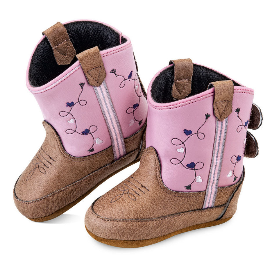 Old West Poppets Vintage Tan & Pink Baby Boots