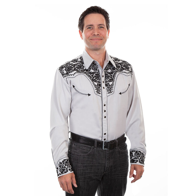 Scully Black Floral Embroidered Shirt
