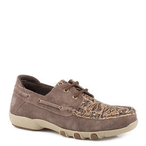 Roper Lace Tooled Boat Shoe