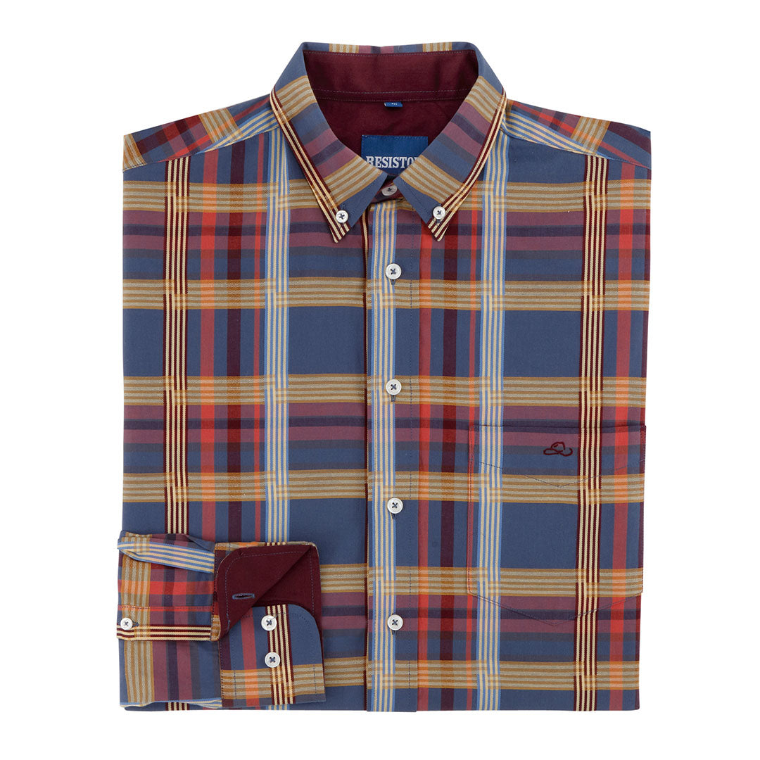 Resistol Estill Button Blue & Tan Plaid Shirt