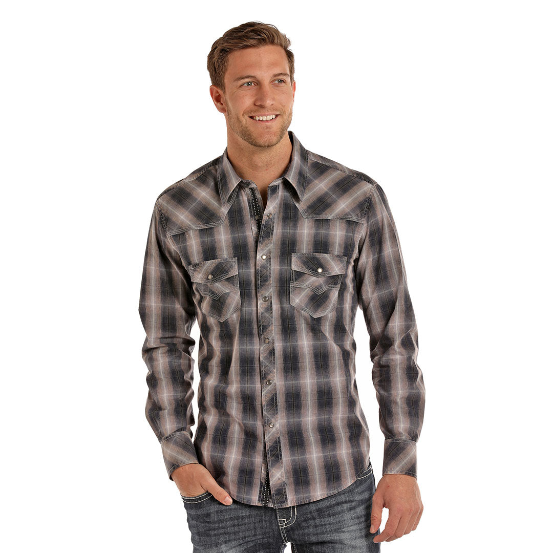 Rock & Roll Cowboy Black & Tan Plaid Shirt