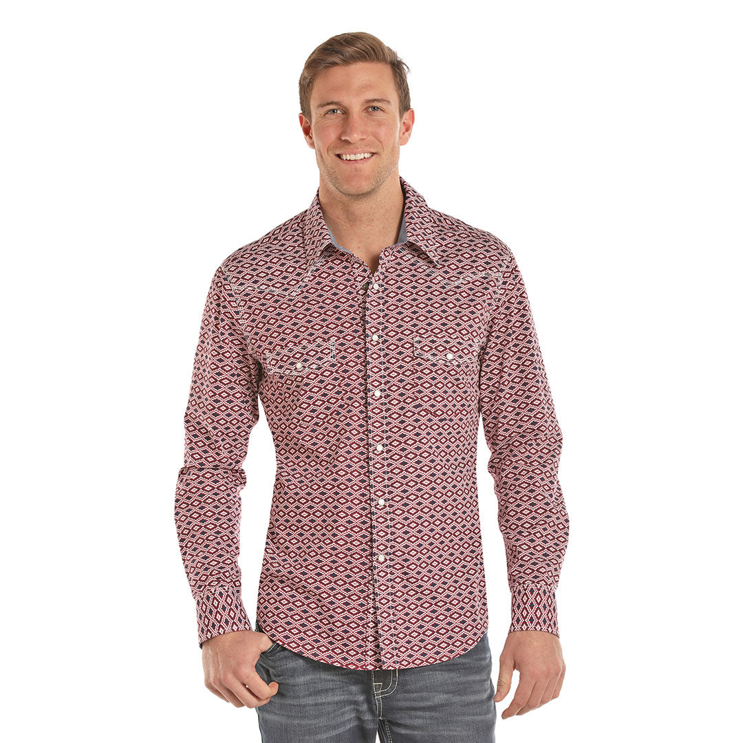 Rock & Roll Cowboy Red Aztec Print Shirt