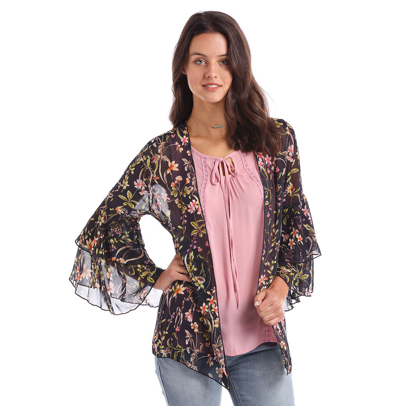 Panhandle Red Label Blue Floral Print Kimono