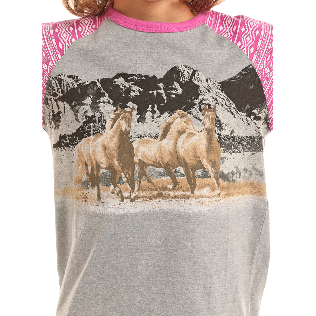 Rock & Roll Cowgirl Running Horses T-Shirt