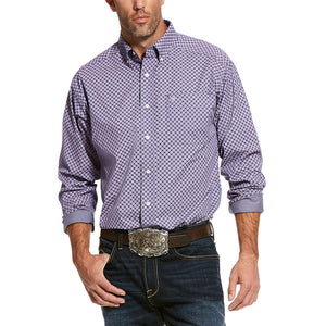 Ariat Wrinkle Free Valazquez Geometric Print Men's Purple Shirt
