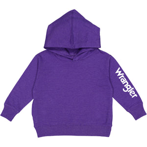Wrangler Sleeve Logo Toddler Boys Purple Fleece Hoodie