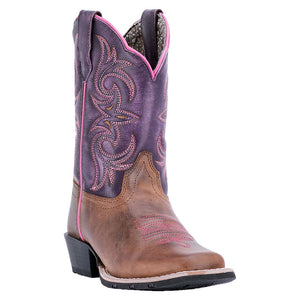 Dan Post Majesty Brown & Purple Kids Cowgirl Boots
