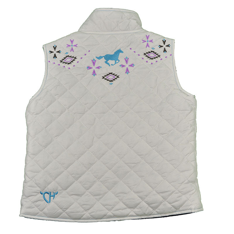 Cowgirl Hardware Southwest Quilted Womens White Vest