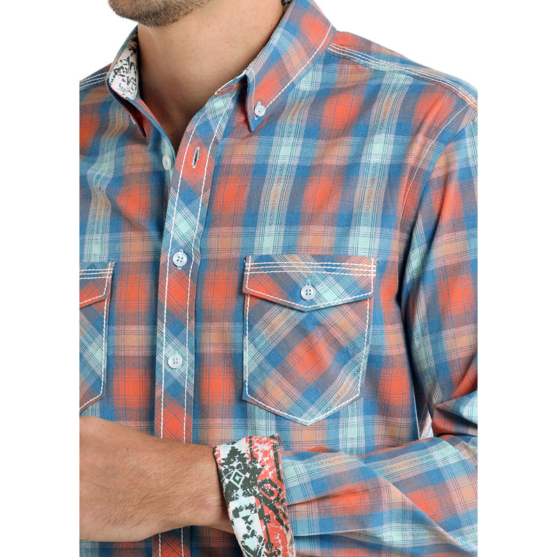Panhandle Rough Stock Coral & Blue Plaid Shirt