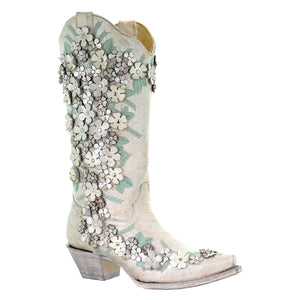 Corral Mint Flora Flowery Western Wedding Cowgirl Boot