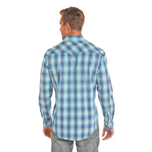 Rock & Roll Cowboy Navy & Turquoise Plaid Shirt