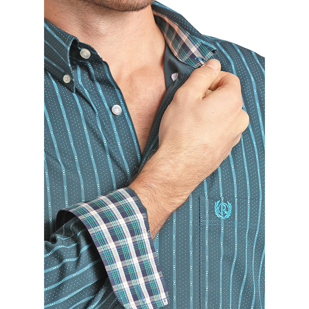 Panhandle Teal Aztec Stripe Shirt