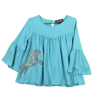 Cowgirl Hardware Crystal Stormy Girls Turquoise Top