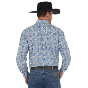 Blue & White Filigree Print Shirt