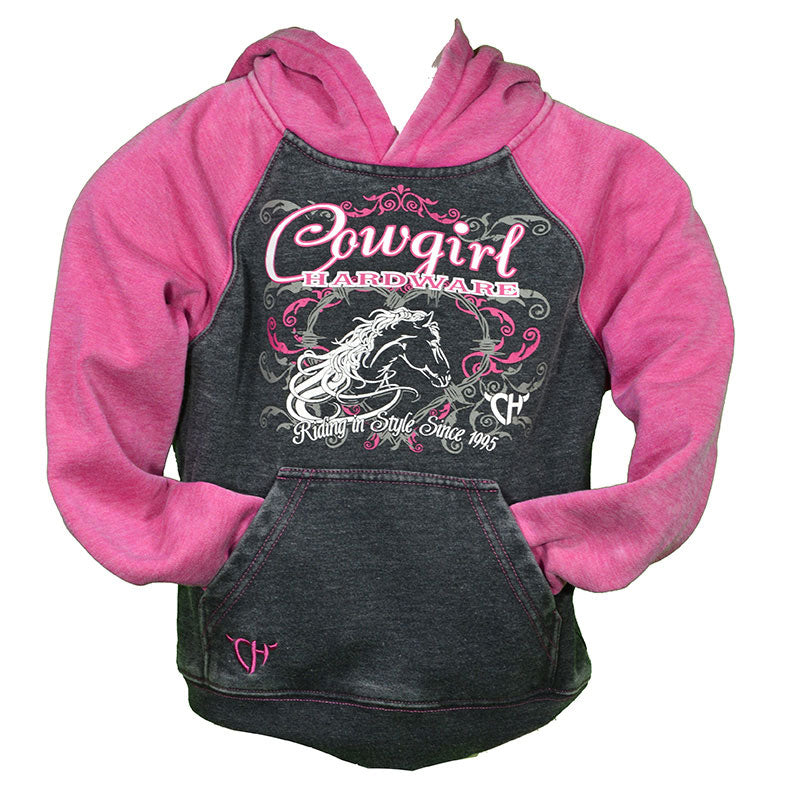 Cowgirl Hardware Riding In Style Grey & Pink Acid Wash Girls Pullover
