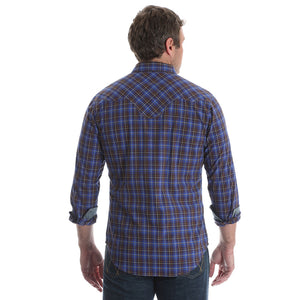 Wrangler Retro® Brown & Blue Plaid Shirt