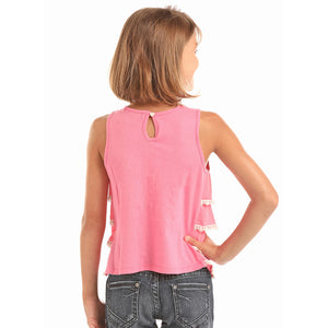 Rock & Roll Cowgirl Girls Pink Ruffle Tank