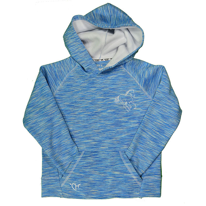 Cowgirl Hardware Spirit Horse Heather Turquoise Girls Tech Pullover