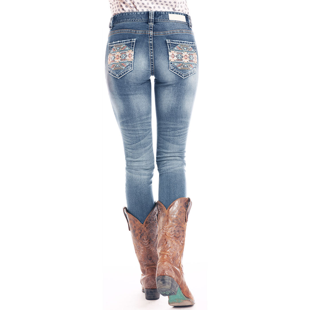 Rock & Roll Denim Aztec Mid Rise Skinny Jean