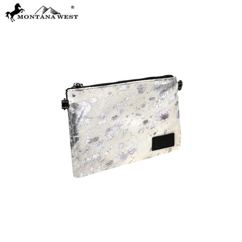 Montana West Acid Wash Cowhide Clutch/Crossbody