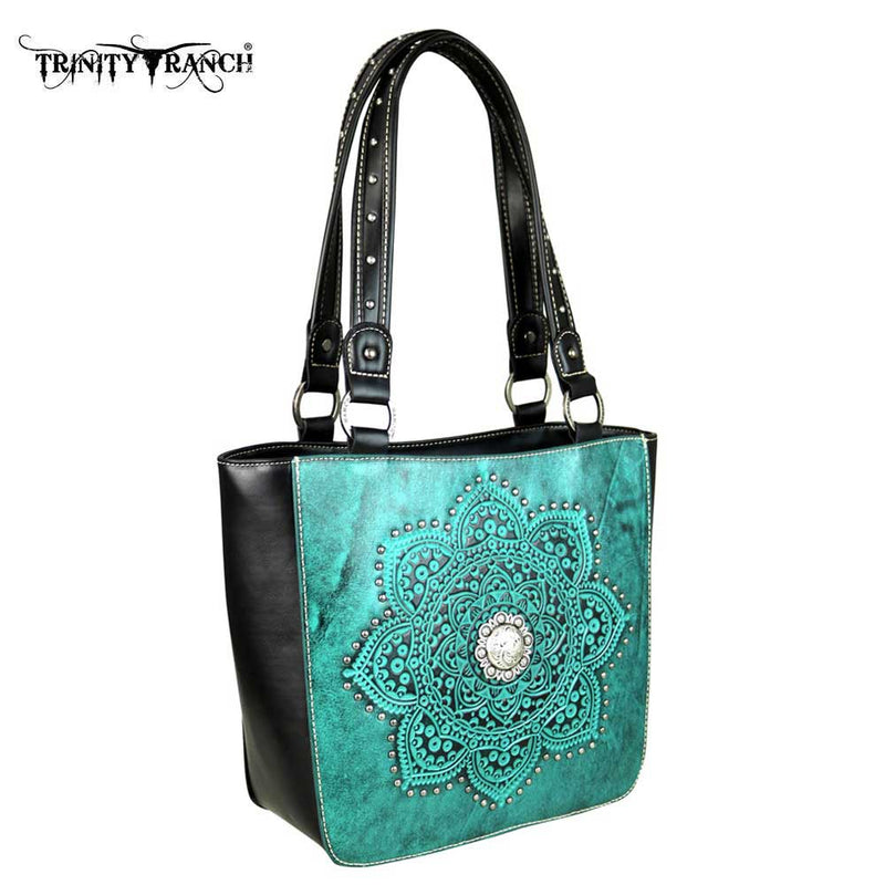 Trinity Ranch Floral Tooled Leather Tote Bag