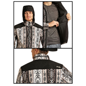 Powder River Outfitters Aztec Softshell Mens Black Jacket