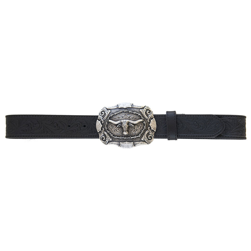 AndWest Men's Tooled Leather Belt with Longhorn Buckle