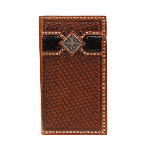 Ariat Ostrich Print Leather Wallet