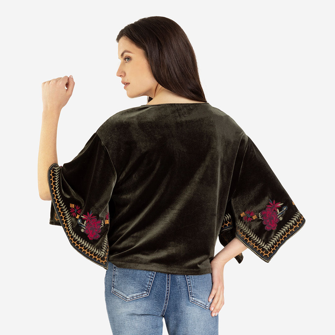 Tribal Embroidered Velvet Kimono Green Womens Top