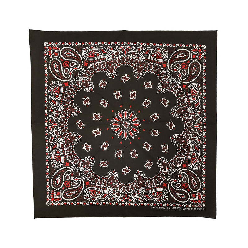 Major Imports Black Red  White Paisley Bandana