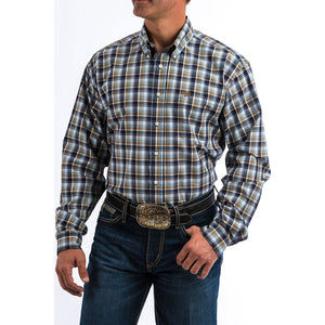 Cinch Blue & Brown Plaid Shirt