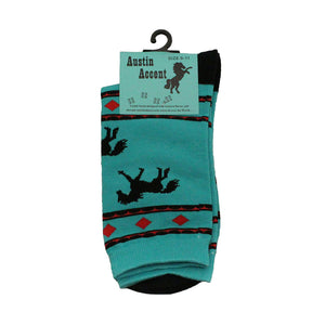 Austin Accent Turquoise & Black Horses Pattern Sock