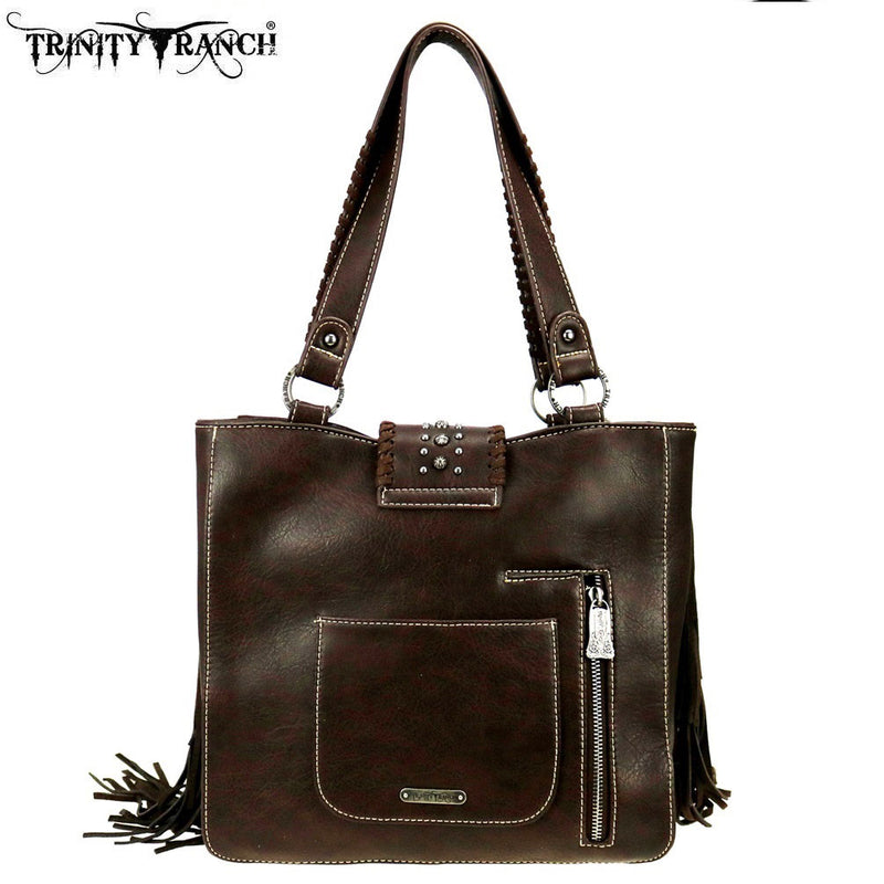 Trinity Ranch Leather & Cowhide With Turquoise Stone Handbag