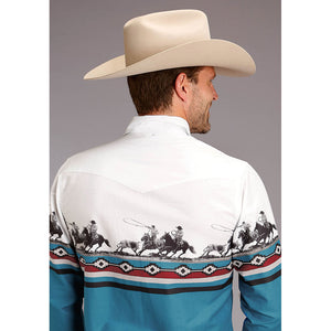 Roper Team Roping Border Print Shirt