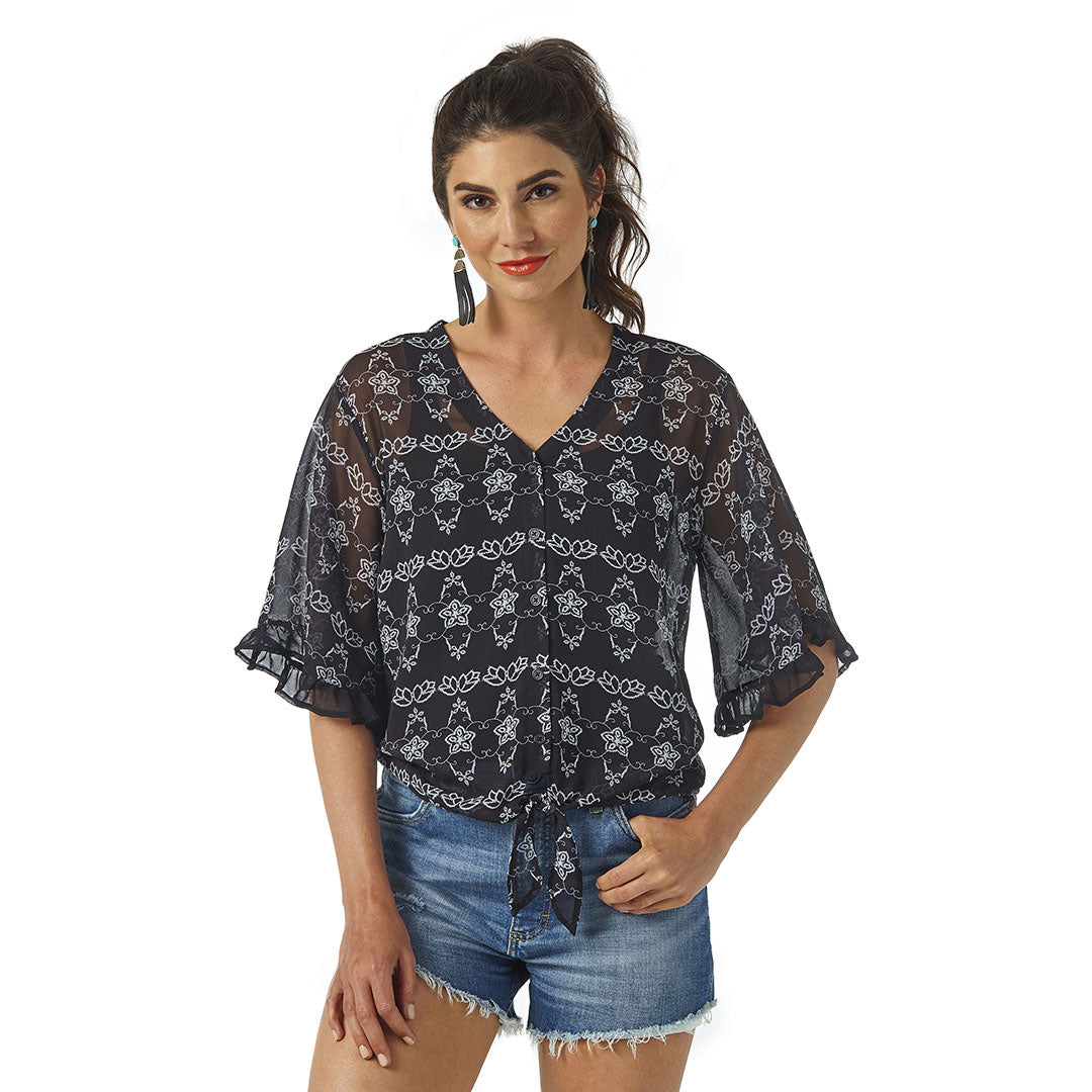 Wrangler® Chiffon Tie Front Womens Black Top